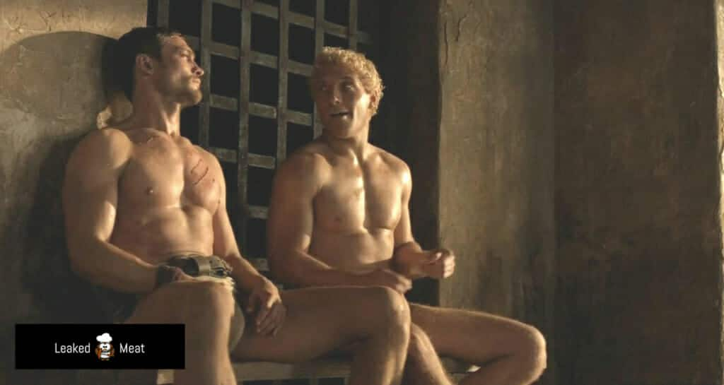 Andy Whitfield and Jai Courtney Spartacus