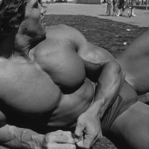 Arnold Schwarzenegger chest from Pumping Iron