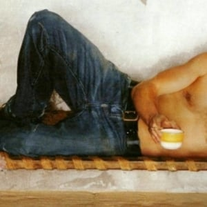 Brad Pitt shirtless coffee cup