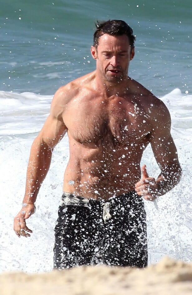 Hugh Jackman showing his body
