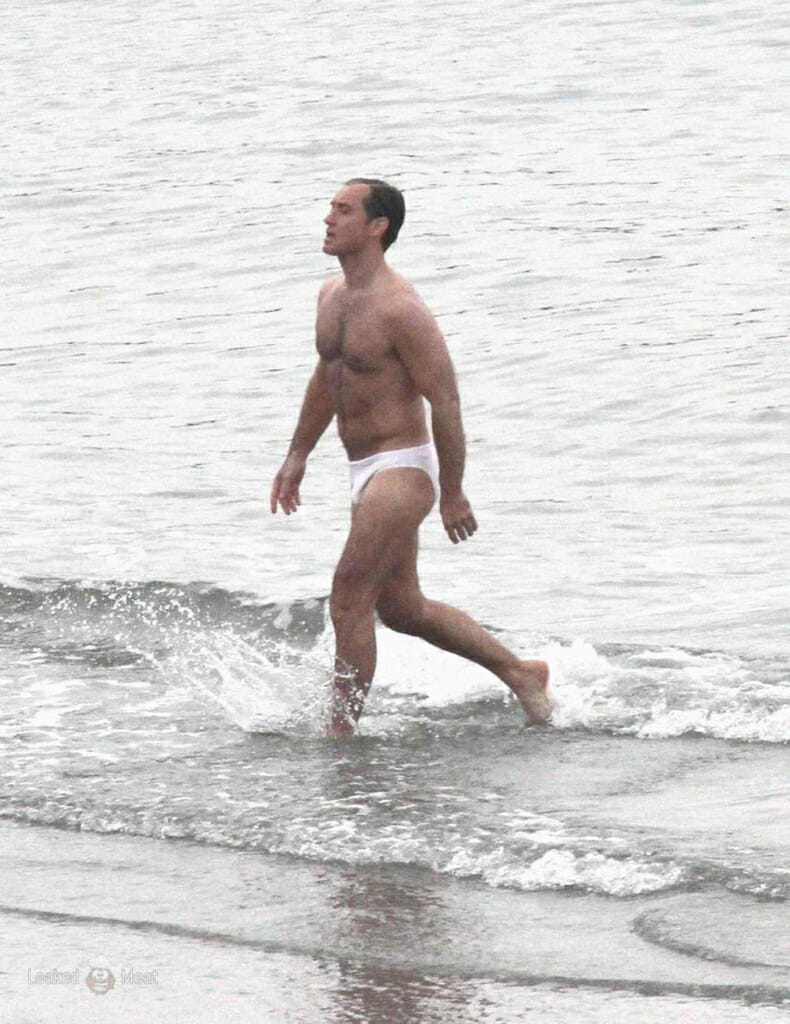 Jude Law shirtless bulge The New Pope