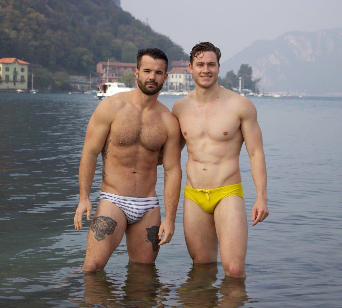 Simon Dunn shirtless with Felix Maisey-Curtis