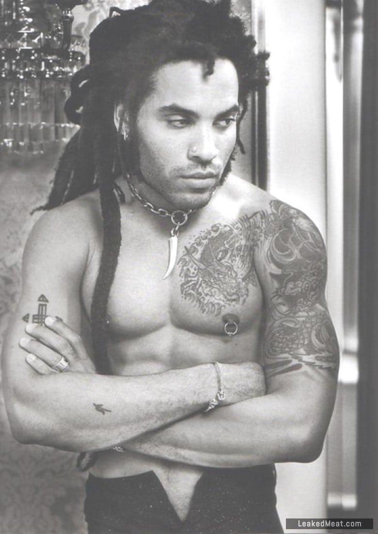 Lenny Kravitz black and white tattoos