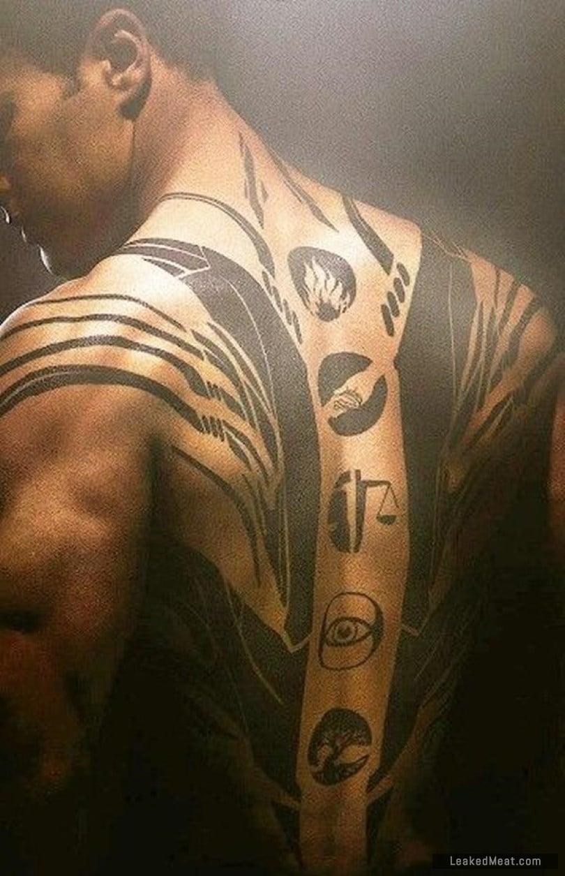 Theo James back tattoo